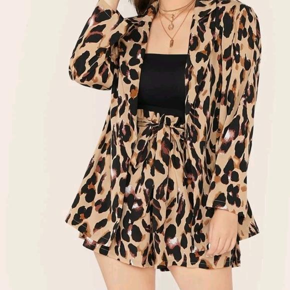 Shein Plus Leopard Blazer and belted shorts
